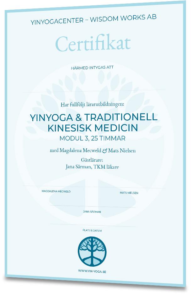 Certifikat Yinyoga och Traditionell Kinesisk medicin